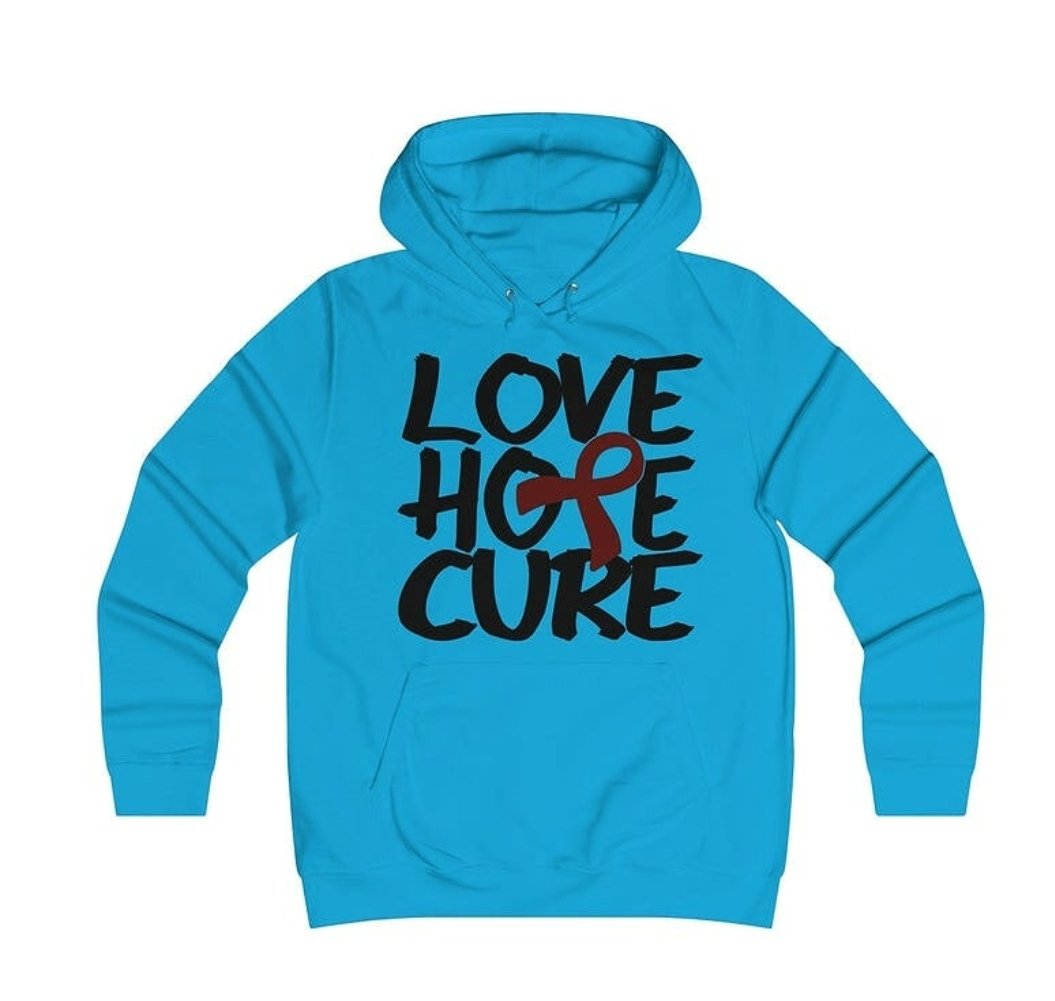Love hope Cure light blue hooded top - I need your help.
